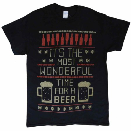 Fair Isle Tie (Mens Black Beer Time Fair Isle Christmas Holiday T-Shirt)