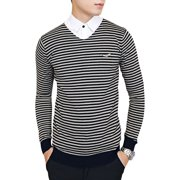 Men's V Neck Stripes Long Sleeve Ribbed Hem Slim Casual Knit Shirt (Size S / 36)