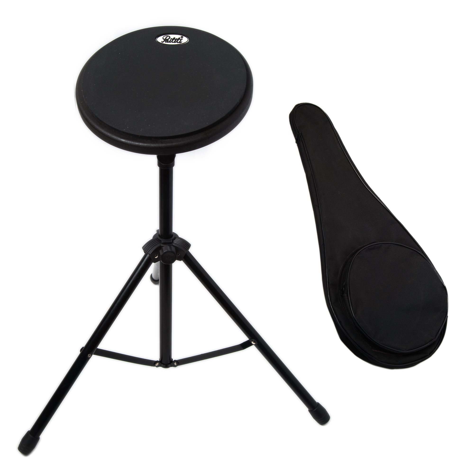 Paititi 8 inch Practice Drum Pad with Adjustable Stand with 7A sticks and Carrying Bag (Black)