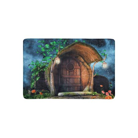 MKHERT Fairytale Tree Trunk Cottage with Ivy Flowers and Lamps at Night Doormat Rug Home Decor Floor Mat Bath Mat 23.6x15.7 inch