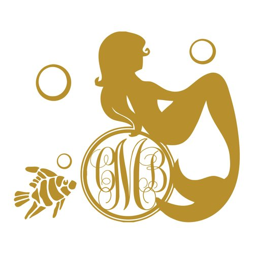 Harriet Bee Monogram Mermaid Nursery Bedroom Wall Decal