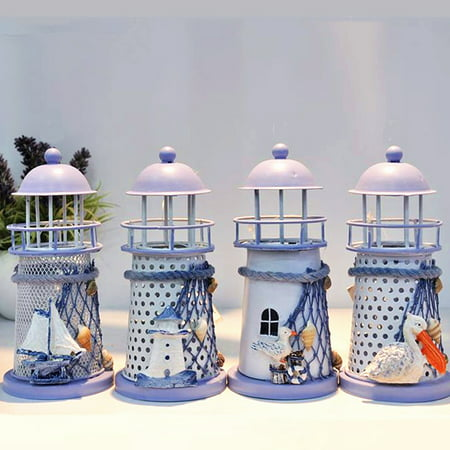 4PCS Vintage Lighthouse Iron House Candle Holder Holder Stand Candlestick Candelabrum Gift Home Decor (Random Style) ()