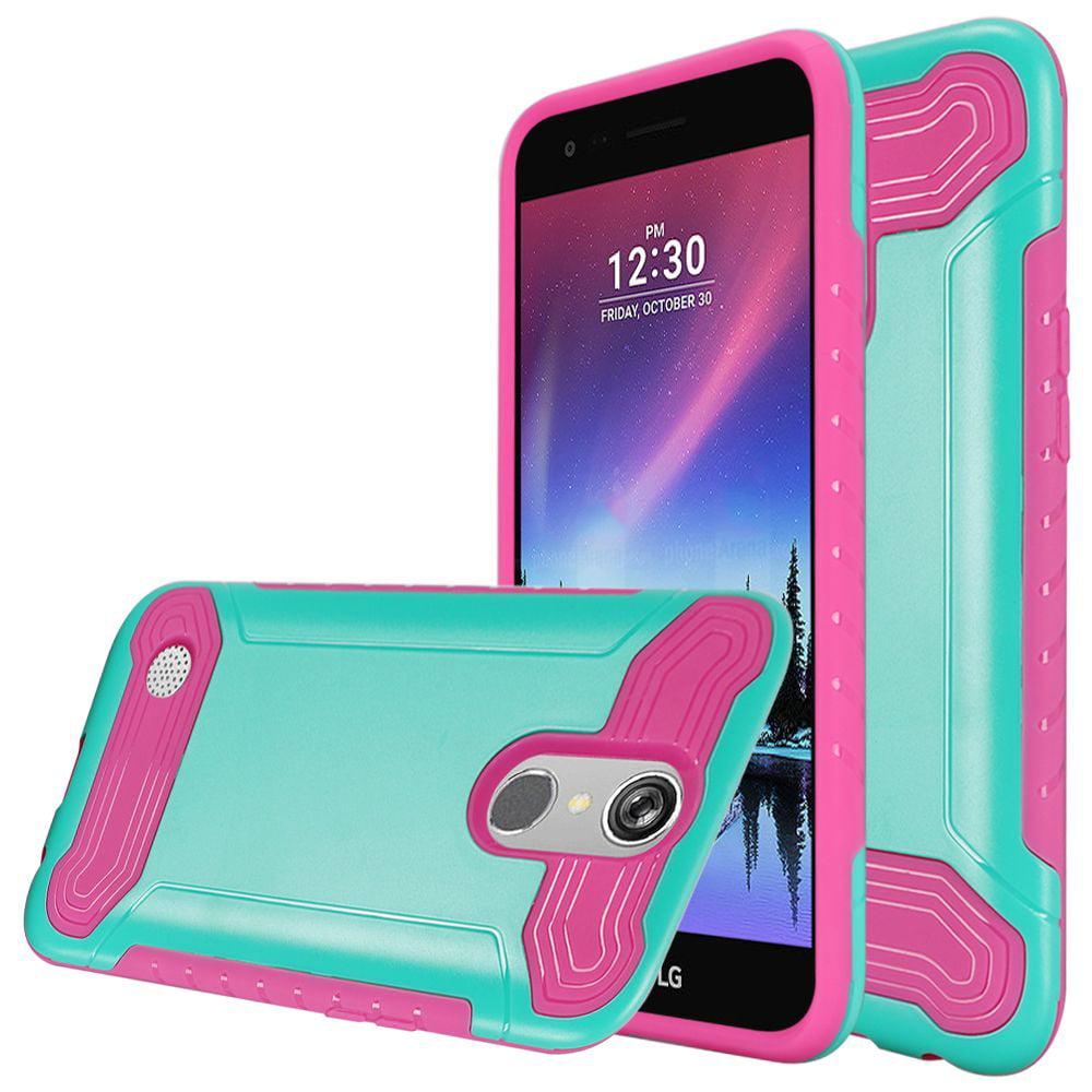For LG K20 Plus Harmony Grace Q Hybrid Dual Layer Slim Armor - Teal PC / Hot Pink TPU