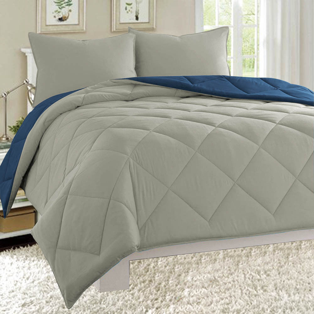 Dayton Queen Size 3-Piece Reversible Comforter Set Soft Brushed Microfiber Quilted Bed Cover Gray & Navy
