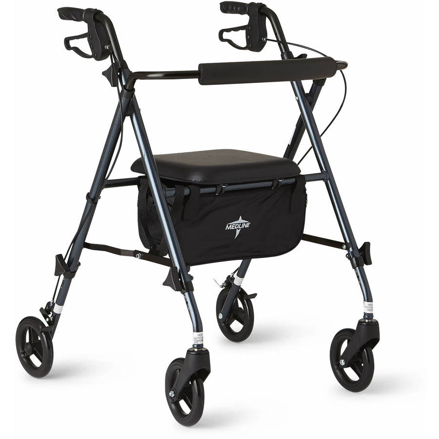 Medline Ultra Lightweight Aluminum Rollator Walker, Smoky Blue