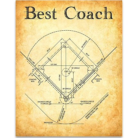 Best Baseball Coach - 11x14 Unframed Patent Print - Great Gift to Basketball (Best Basketball Coaches Of All Time)