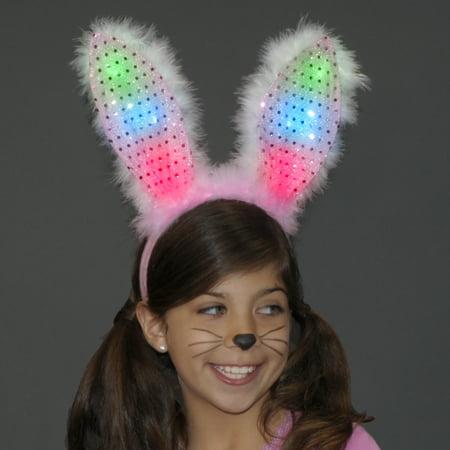 FlashingBlinkyLights Light Up Bunny Ears Headband Pink and White