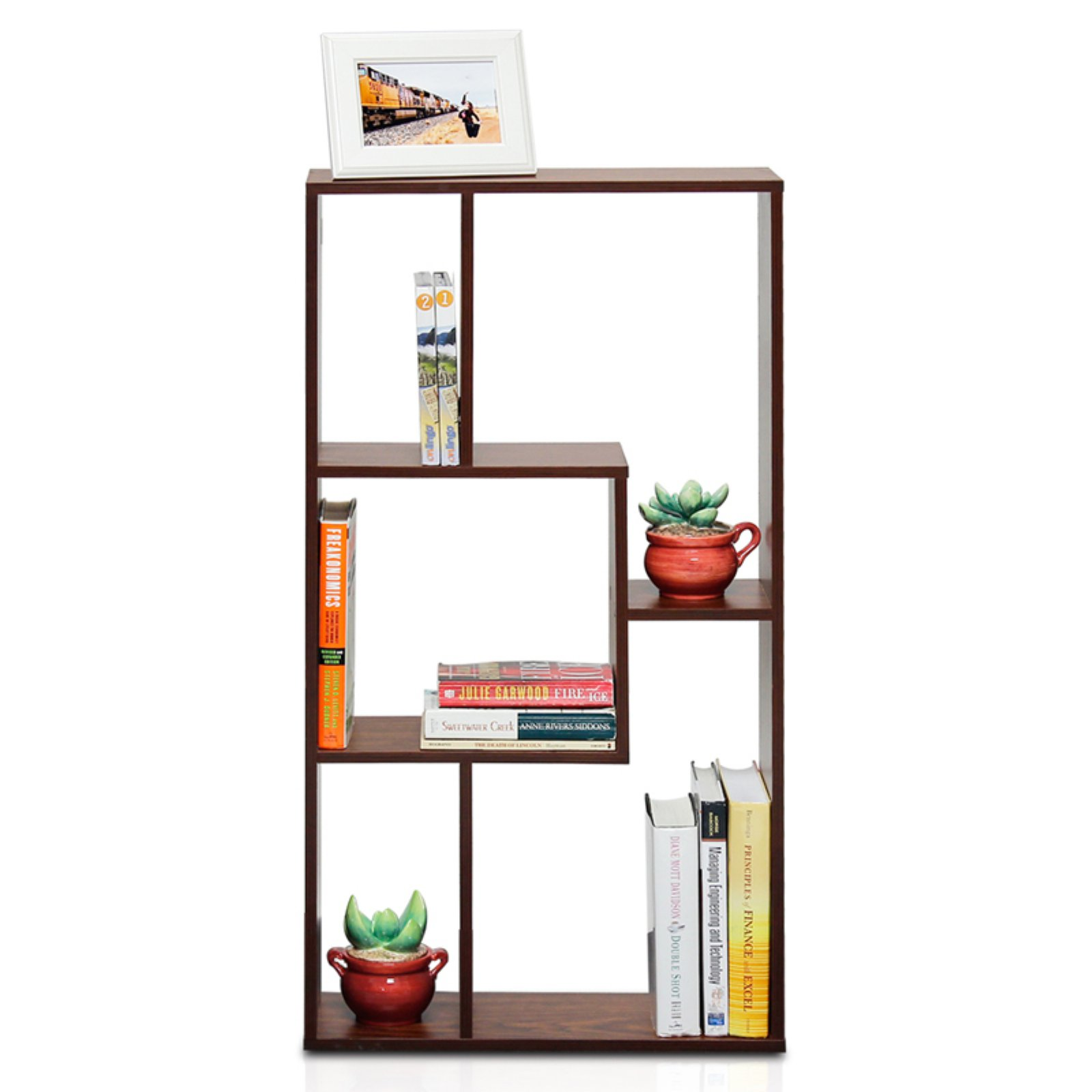 Furinno FNAJ-11073 Boyate Magic Cube 5-Grid Storage Rack, Walnut