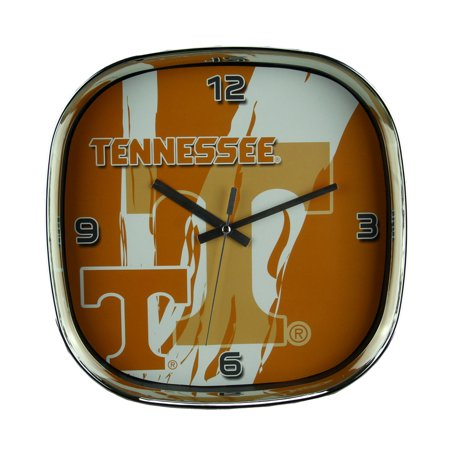 University of Tennessee Volunteers Glass Face Wall Clock Chrome Finished Frame