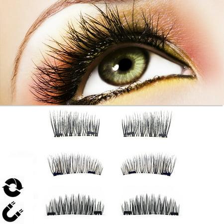 554ba99a440 Magnetic False Eyelashes, 4 PCS NO Glue Reusable Fake Lashes Natural Look  Triple Magnets Eyelashes for Natural Look,Dark Brown - Walmart.com