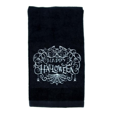 Happy Halloween Spider Web Bats Hand Towel Kitchen and Bath Gothic Home Decor - Target Halloween Towels