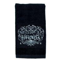 Happy Halloween Spider Web Bats Hand Towel Kitchen and Bath Gothic Home Decor