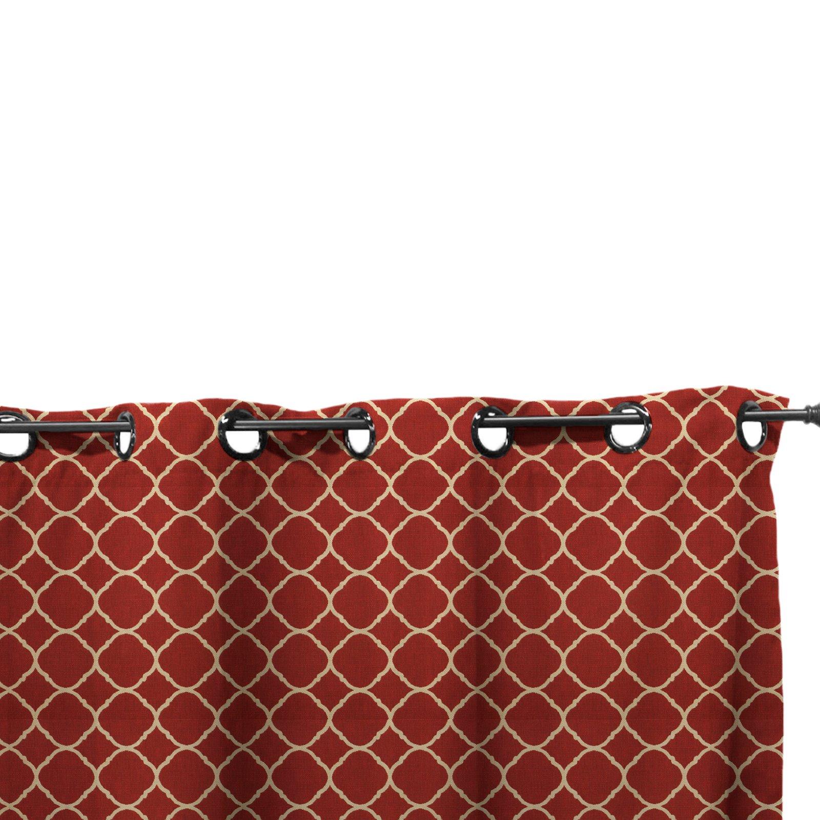 Easy Way Accord II Crimson Print Sunbrella Outdoor Drape with Grommet Top