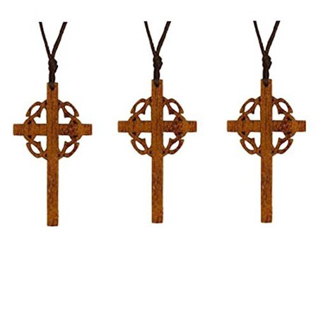 Cross with Crown Wood Necklace for Easter (Pkg of 12) - Easter Jewelry
