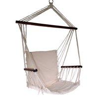 Shop4Omni Omni Patio Swing Seat Hanging Hammock Cotton Rope Chair with Cushion Seat (Cream)