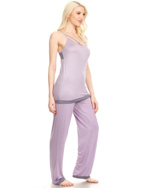 JVSET16P Womens Pants Set Sleepwear Pajamas Woman Sleeveless Sleep Nightshirt Purple S