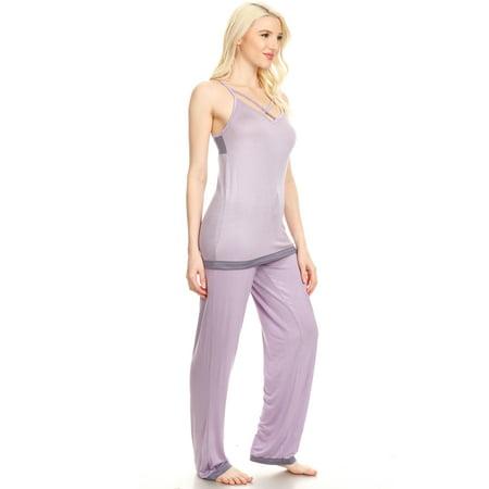 JVSET16P Womens Pants Set Sleepwear Pajamas Woman Sleeveless Sleep Nightshirt Purple S