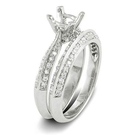 Dazzlingrock Collection 0.50 Carat (Ctw) 14k Round Diamond Ladies Semi Mount Bridal Ring Engagement Set (No Center Stone), White Gold, Size 6.5 Channel Set Semi Mount Ring