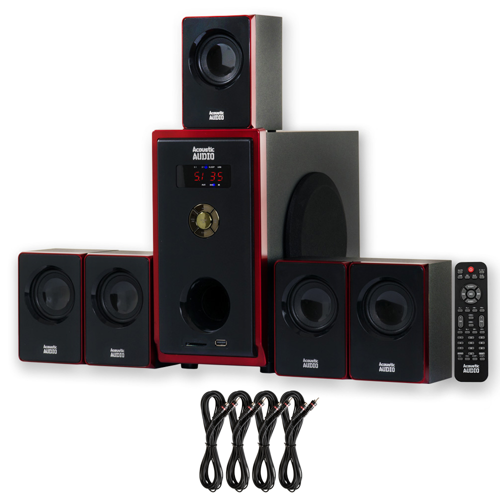 Acoustic Audio AA5103 Home Theater 5.1 Speaker System with 4 Extension Cables Surround Sound