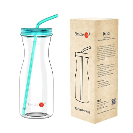 Holiday Season|Tritan Water Bottle With Straw by SimpleHH: BPA Free Cold Drink | Water Container | Dishwasher-Safe Tumbler | Extra Wide Mouth w/ Easy Twist Lid | 33oz | Tiffany Blue (Tumblers With Lids And Straws)