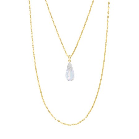 Lesa Michele Faceted Crystal Teardrop Layered Necklace in Yellow Gold over Sterling Silver made with Swarovski Crystals