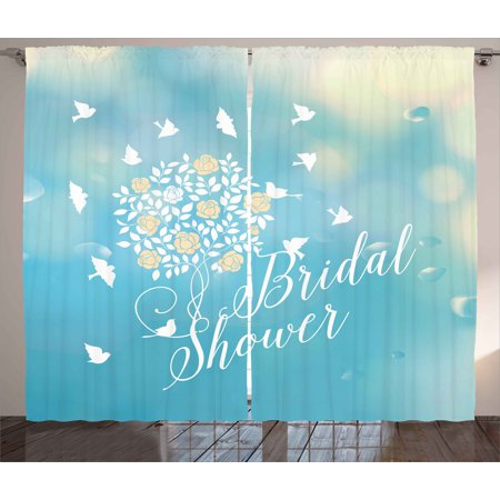 Bridal Shower Decorations Curtains 2 Panels Set, Clear Sunny Summer Sky Birds Flowers Bride Party, Window Drapes for Living Room Bedroom, 108W X 84L Inches, Sky Blue Cream and White, by Ambesonne