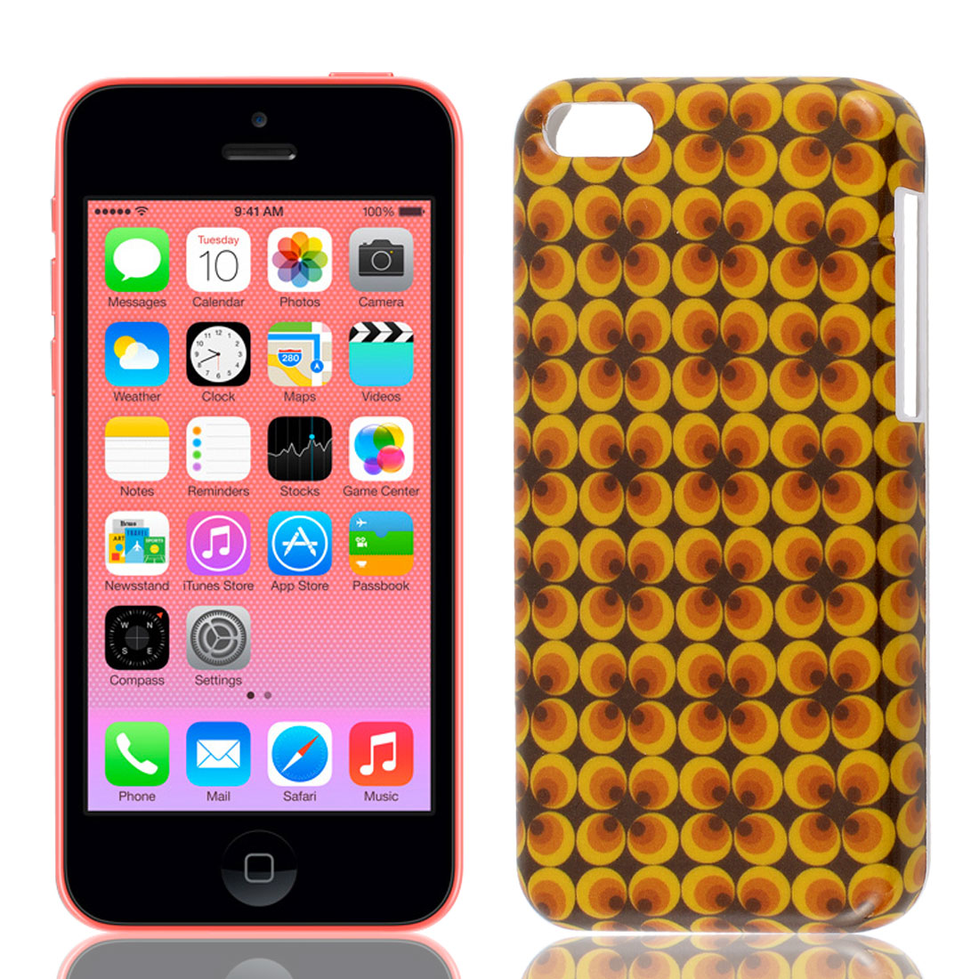 Yellow Brown Plastic IMD Back Case Cover Guard for iPhone 5C - image 1 of 1