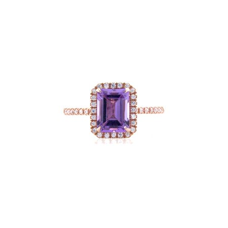 10K Rose Gold Brilliance Fine Jewelry Octagon Cut Treated Amethyst & Cubic Zirconia Ring