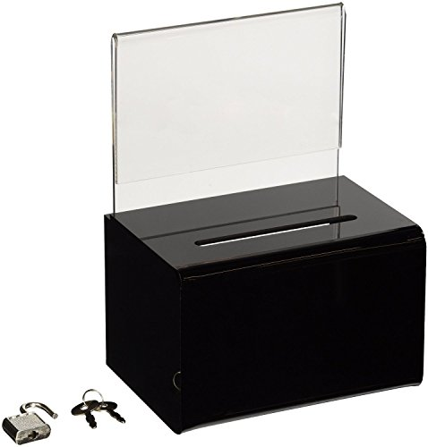 SourceOne Donation Box with Sign Holder and Lock, 5 Inch ...