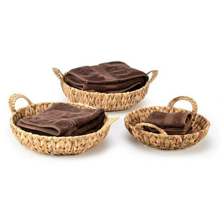 Set of 3 Round Hyacinth Baskets with Handles by Trademark Innovations ()