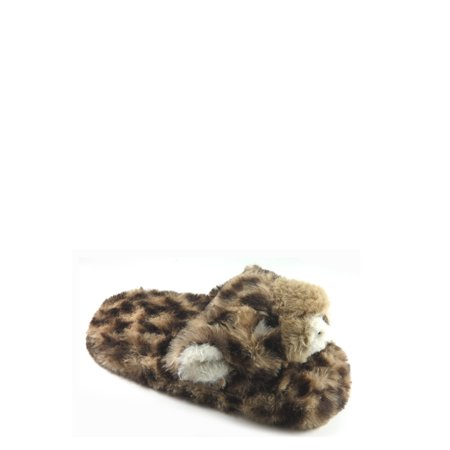 Wonder Nation Girls' Leopard Scuff Slipper