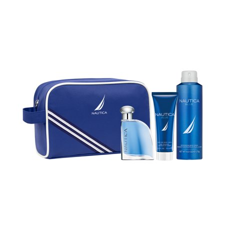 Nautica Blue Cologne & Body Spray, 3-In-1 Body Wash + Travel Bag Holiday Gift Set ($49
