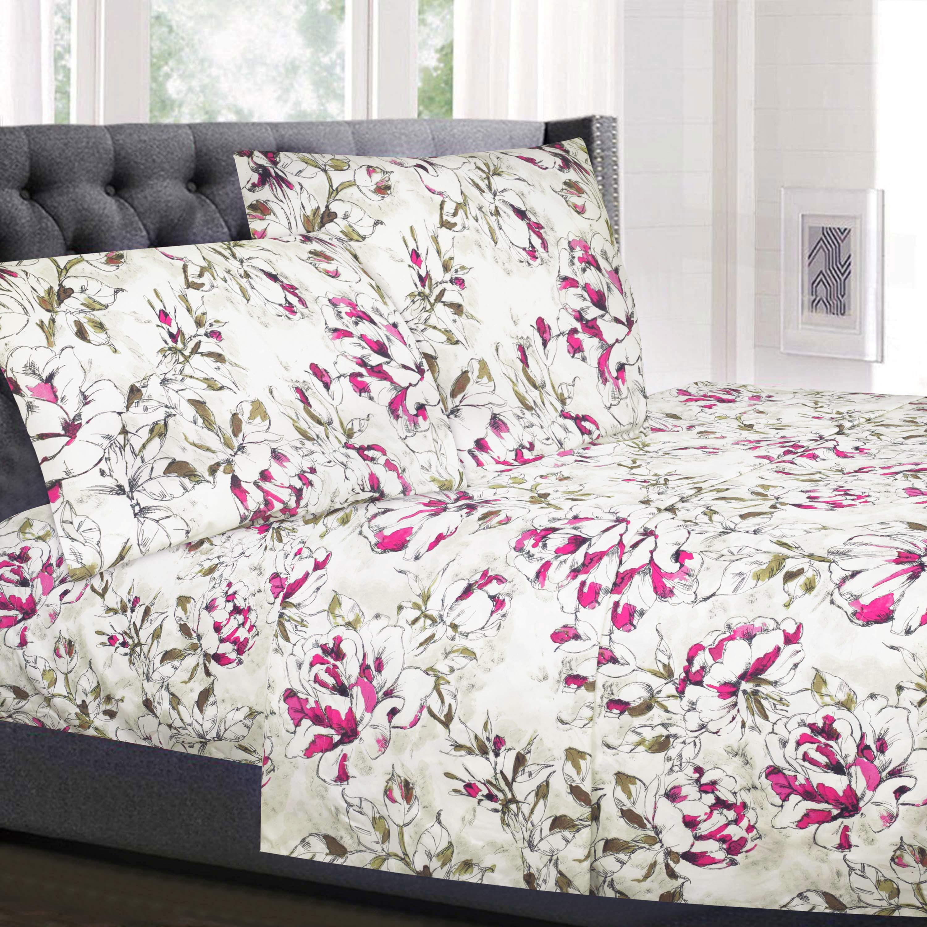Dolce Sage and Purple Floral Pattern 4-Piece 1800 Thread Count Sheet Set