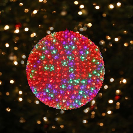 Alpine Corporation Large Twinkling Sphere Ornament With Multi-Colored Flashing LED Lights ()