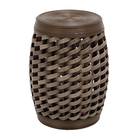 Decmode Eclectic 19 Inch Barrel-Shaped Rattan Foot Stool, Brown