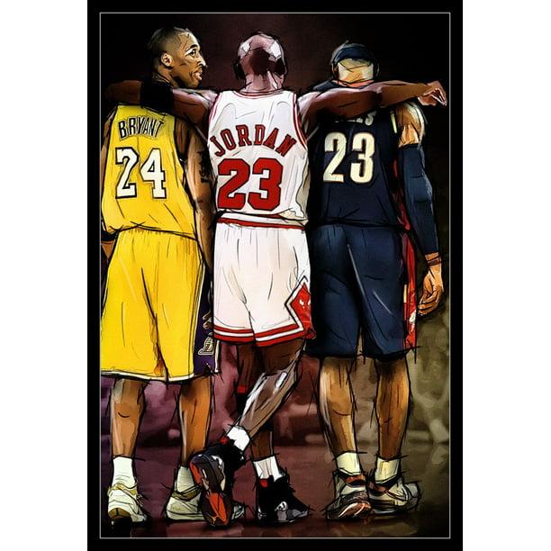 Jordan, Kobe, Lebron Laminated & Framed Poster Print (24 x 36)