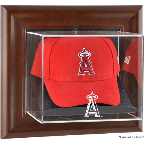 Los Angeles Angels Fanatics Authentic Brown Framed Wall-Mounted Logo Cap Case - No Size
