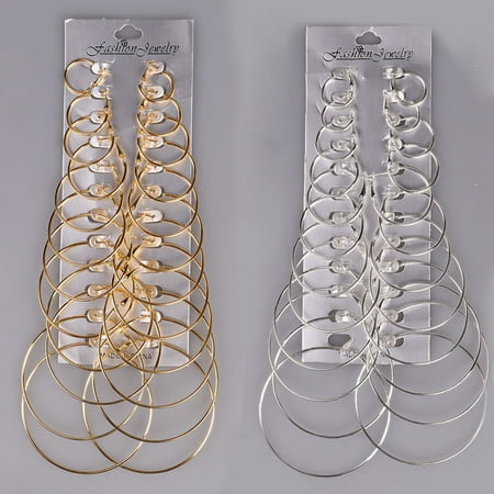 12Pairs/Set Gold Big Round Circle Hoop Dangle Earrings Women Jewelry