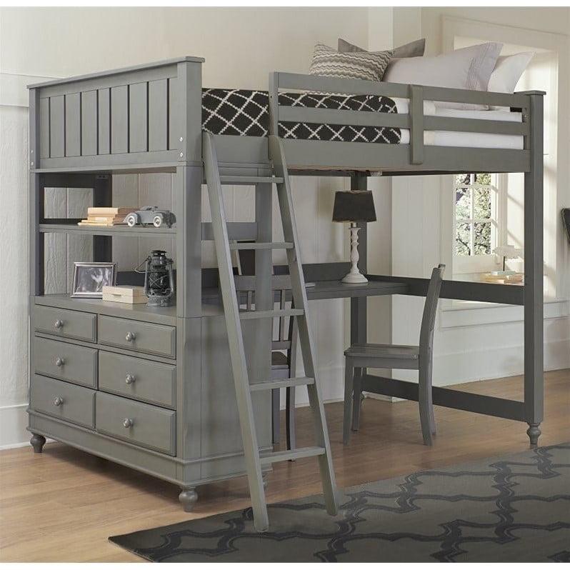 Rosebery Kids Full Loft Bed With Desk In Stone Walmart Com Walmart Com