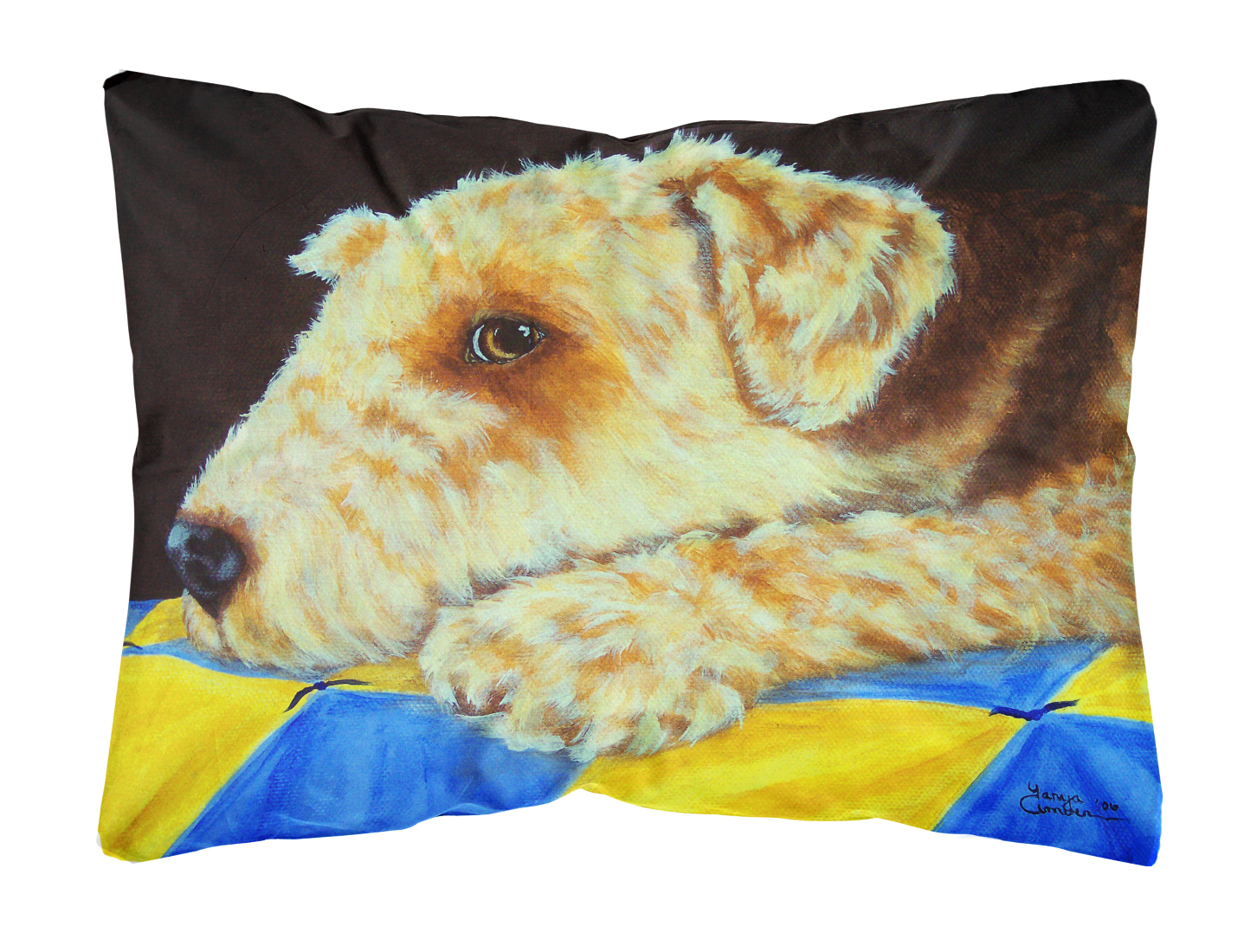 Airedale Terrier Momma's Quilt Fabric Decorative Pillow by Caroline's Treasures