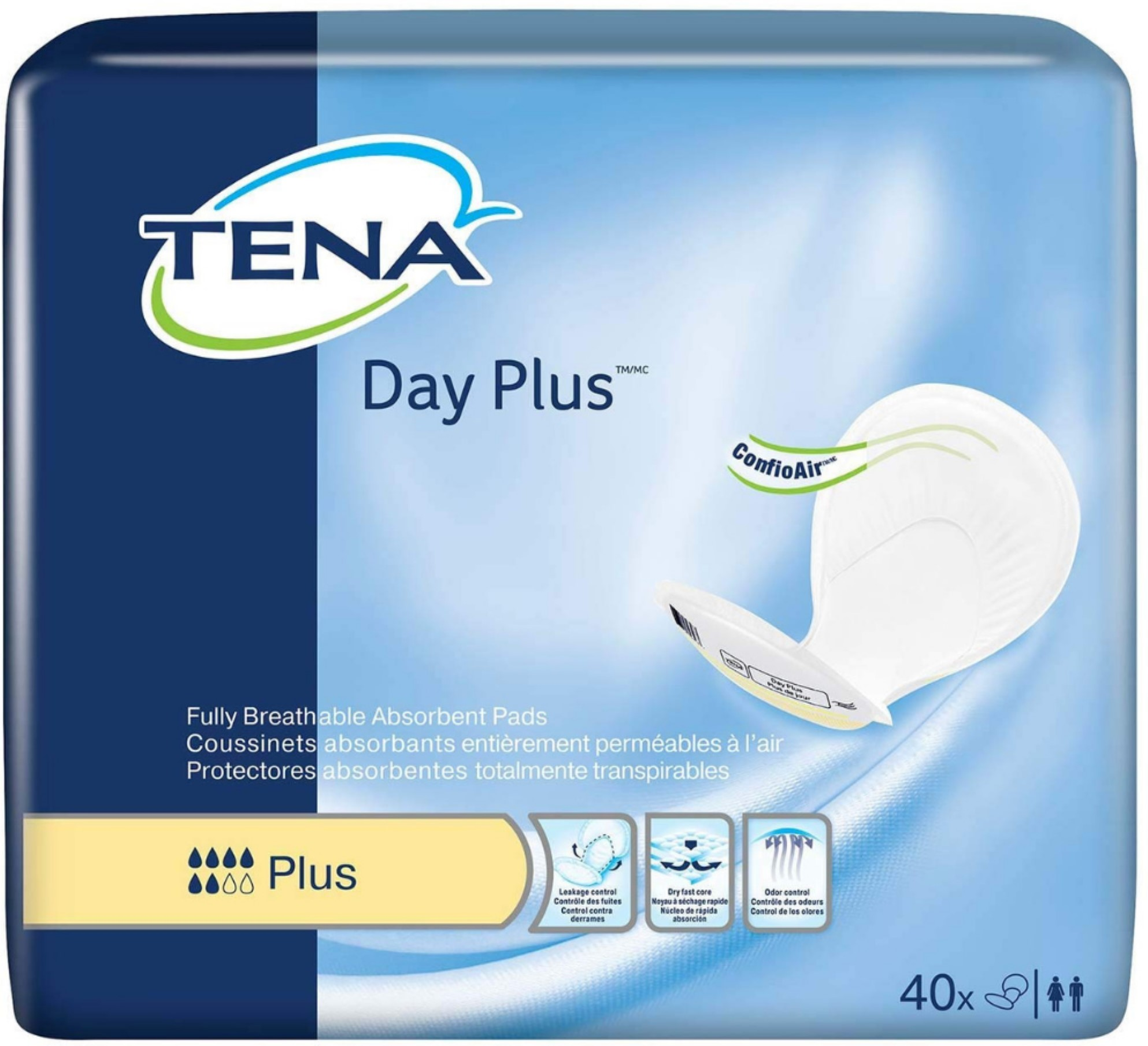 Tena Day Plus Absorbent Pads, 40 count