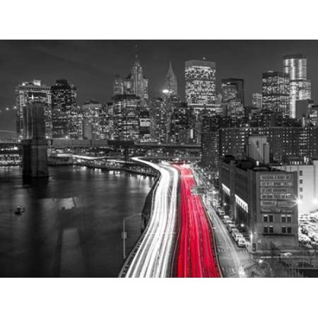 Strip lights on streets of Manhattan by east river New York Poster Print by  Assaf