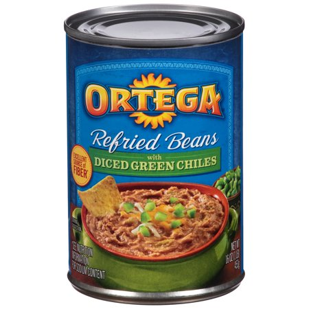 Image of Ortega ® Refried Beans with Diced Green Chiles 16 oz. Can