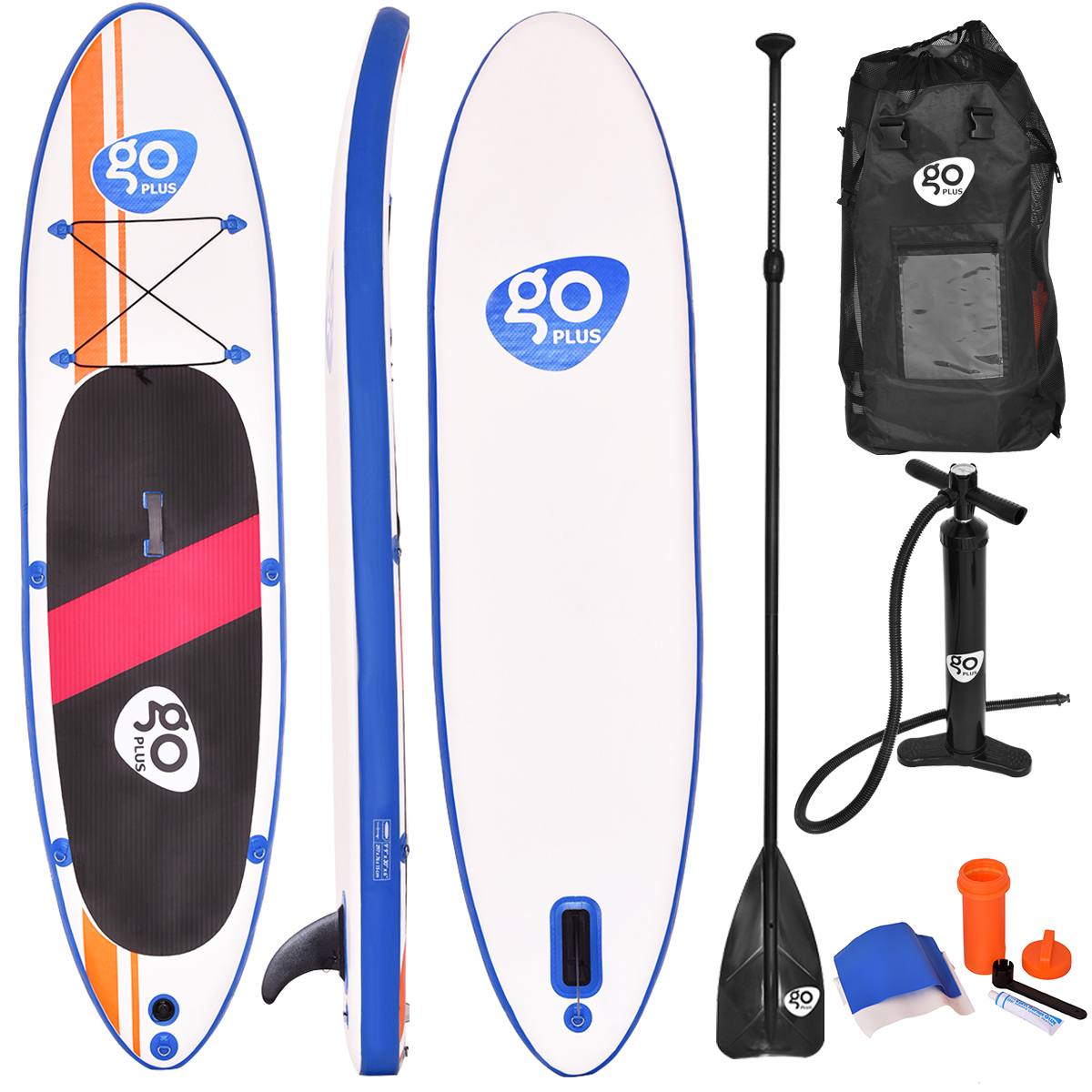 Costway Goplus 10'Inflatable Stand Up Paddle Board SUP w/ Fin and Adjustable Paddle Backpack