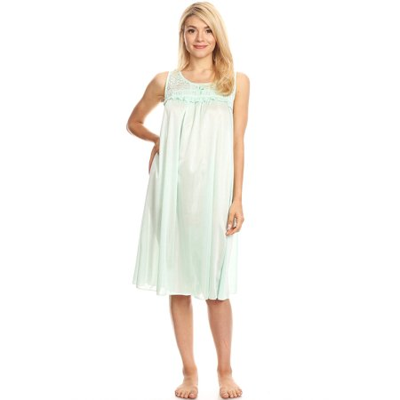 ec769cf7e879 Lati Fashion - 9047 Women Nightgown Sleepwear Pajamas Woman Sleep Dress  Nightshirt Green XXL - Walmart.com