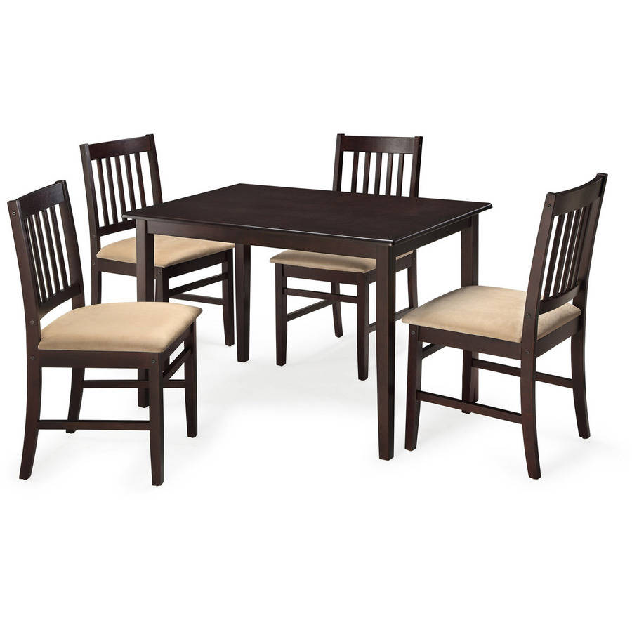 Mainstays 5-Piece Dining Set with Rich Espresso Finish - Walmart.com