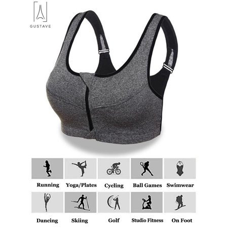"GustaveDesign Womens Padded Sports Bra Yoga Front Zip High Impact Bra Seamless Tank Top Underwear ""Gray,L"""