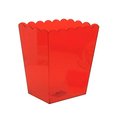 Plastic Large Scalloped Container, 6-Inch, Red