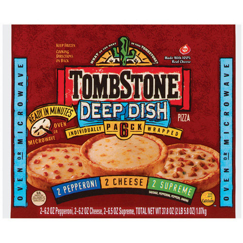 Tombstone: Deep Dish Pepperoni Cheese Supreme 6 Pack Pizza, 37.8 Oz