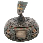 4 Inch Round Nefertiti Bust Box with Winged Scarab Engravings
